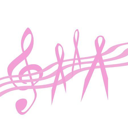乳房癌意識ピンク リボンと背景音楽