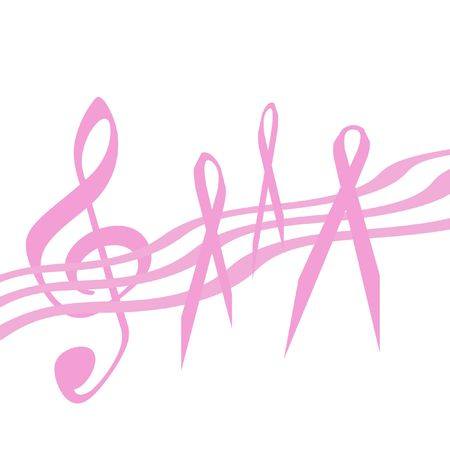 breast cancer awareness pink ribbon and music on  background Imagens