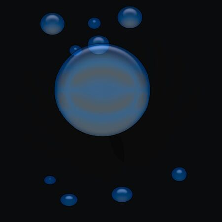 spooky  blue crystal ball floats on black background Stock Photo - 1778604