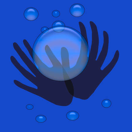 spooky hands hold blue crystal ball on blue background