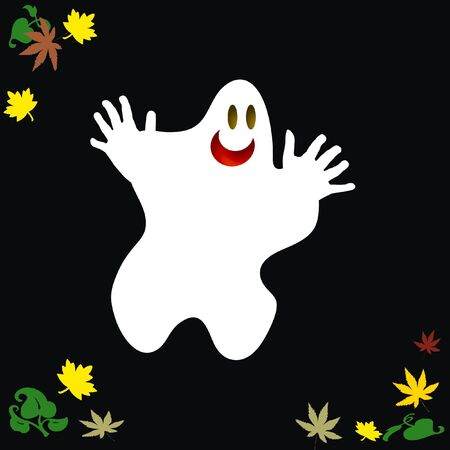 spooky ghost floats with autumn leaves on black background
