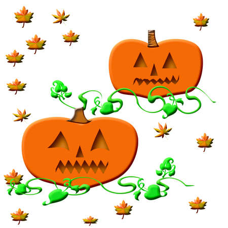 Halloween jack-o-lantern and autumn leaves on  background photo