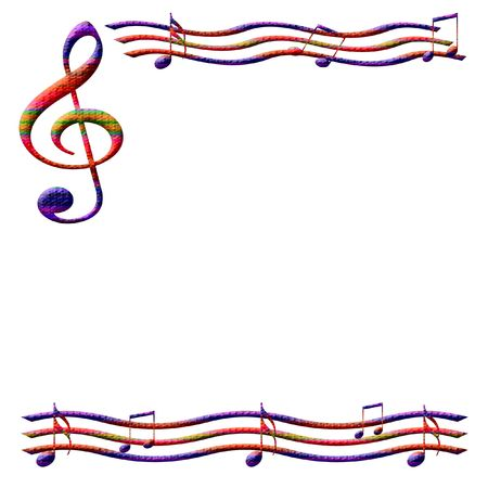 colorful music notes frame on  white background illustrated
