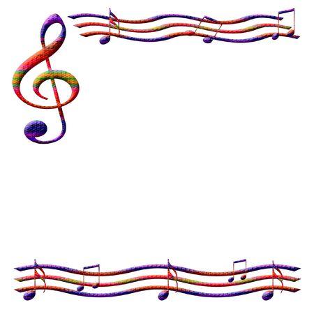 kleurrijke muziek merkt frame op witte achtergrond geïllustreerd Stockfoto