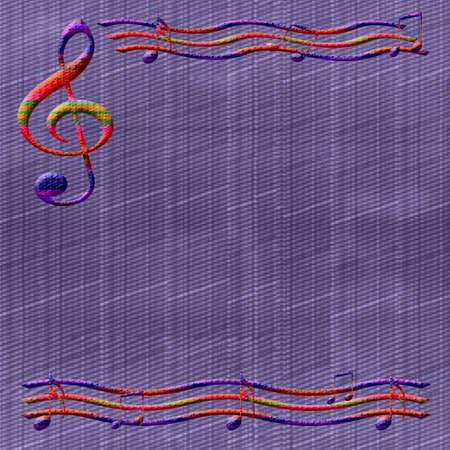 図解デニム背景にカラフルな音楽ノート フレーム