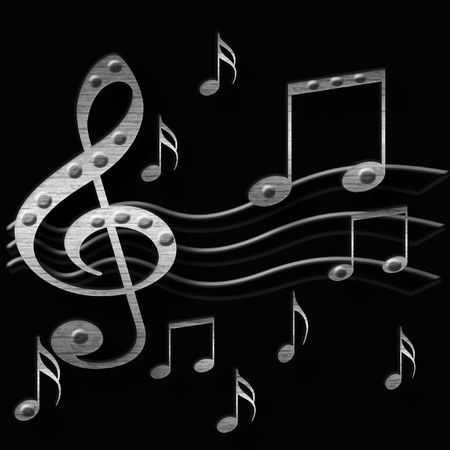 3d metal music notes  on black  background illustrated Imagens
