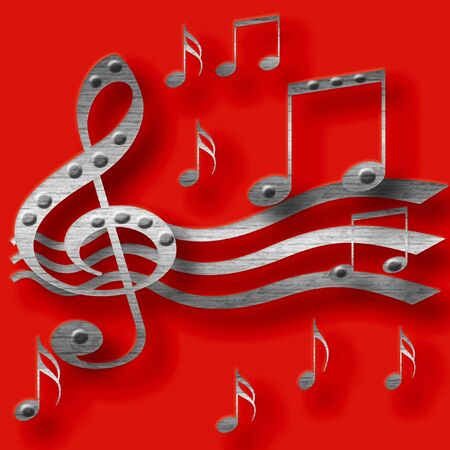 3d metal music notes  on  red background illustrated Stock fotó