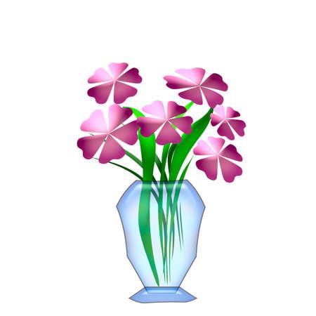large pink flowers in  blue glass vase illustration illustration