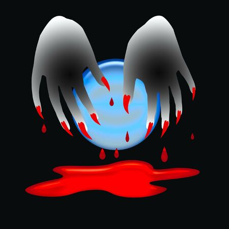 Halloween sign, spooky 3d hands with bloody claws and crystal ball Stock Photo - 1860976