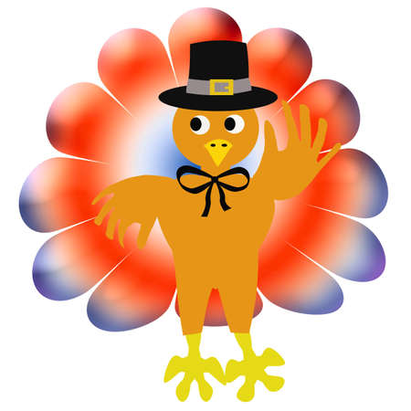 friendly thanksgiving turkey in pilgrim hat and bow tie Stock Photo