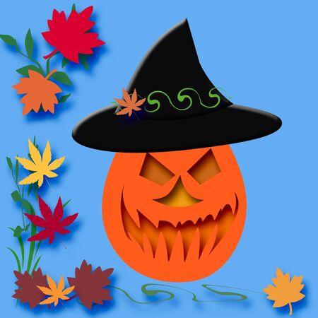 spooky jack-o-lantern  pumpkin with colorful autumn leaves  photo