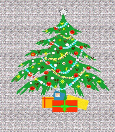 Christmas tree with ornaments and gifts illustration Stock Illustration - 1904317