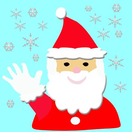 illustrated: illustrated jolly Santa in red suit and cap , waving