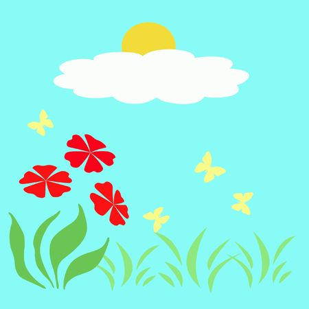flit: bright spring flowers in sunny garden illustration Stock Photo