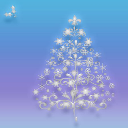 crystal Christmas tree with ornaments  on gradient  background