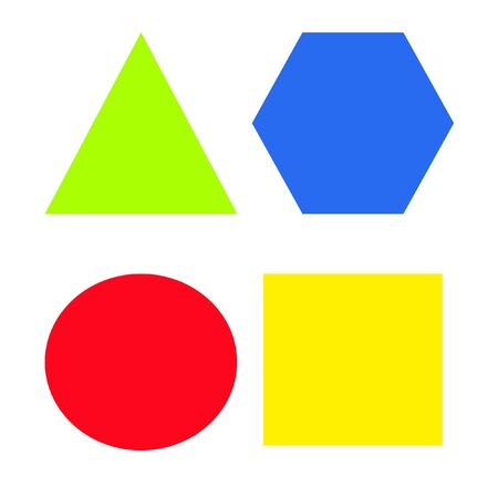 assorted colored square ,triangle, circle and hexagon  Stock Photo