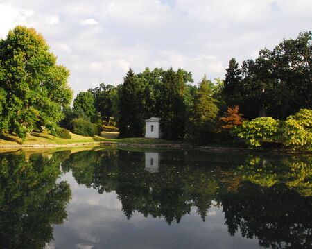 Historical Spring Grove cemetery pond  and crypt