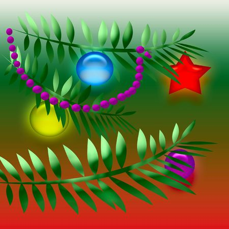 boughs:  Christmas tree boughs with ornaments  on gradient background