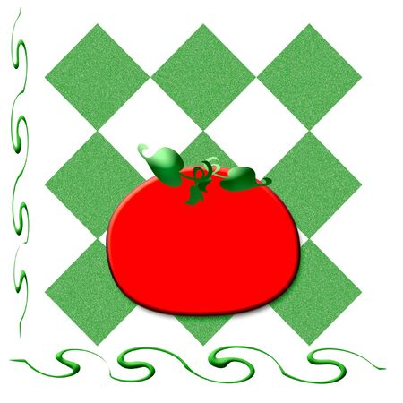colorful red tomato on tablecloth background illustration