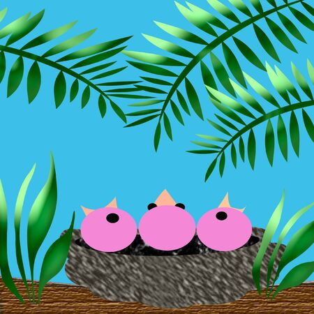 birds with open mouths in a nest illustration