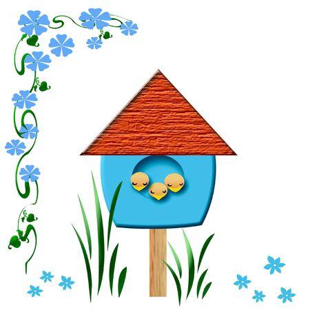 birds sleep in blue birdhouse illustration