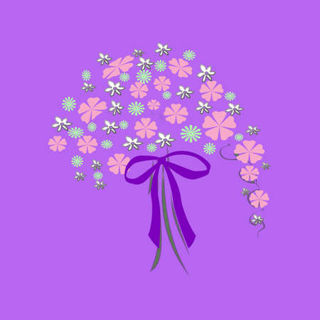 flowers and bow bouquet on  lavender background