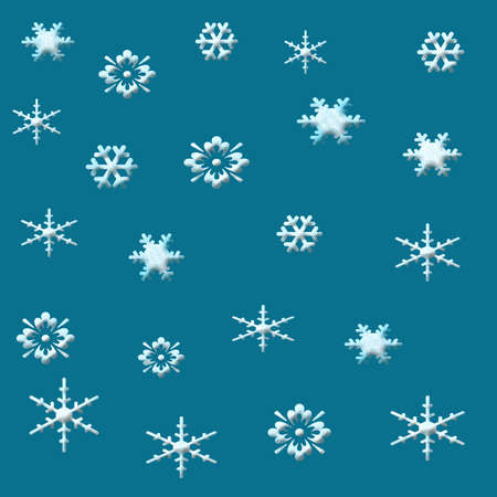 delicate assorted textured snowflakes on solid background Stock fotó