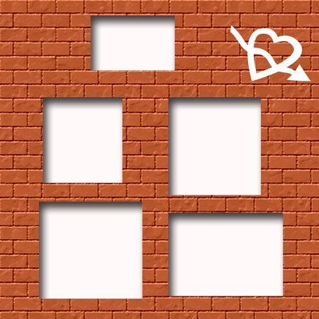 keepsake: scrapbook cutout page  graffiti on brick wall  background Stock Photo
