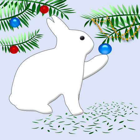 white bunny rabbit decorating christmas tree with ornaments stock photo picture and royalty free image image 2079778