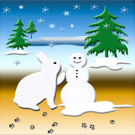 companion: white bunny rabbit building a snowman friend