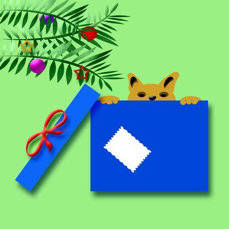 pal: Christmas puppy peeking over top of gift box illustration