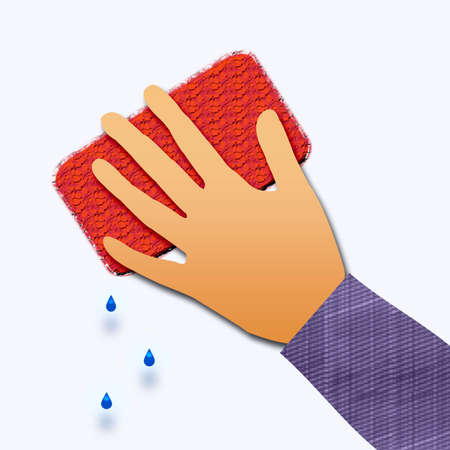 disinfect: hand at work washing up with a sponge Stock Photo