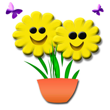 happy smiling 3d yellow flowers in a pot