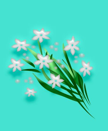 white 3d flower bouquet on solid background
