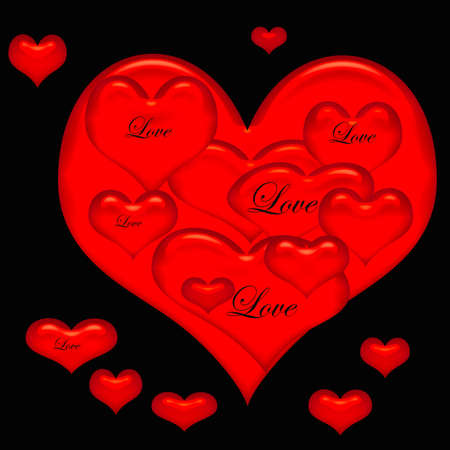 rode valentine harten vol van liefde op zwarte achtergrond Stockfoto