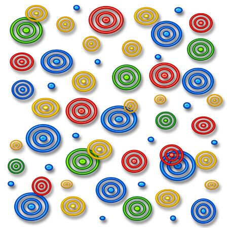 colorful neon circles on solid white background  Stock fotó