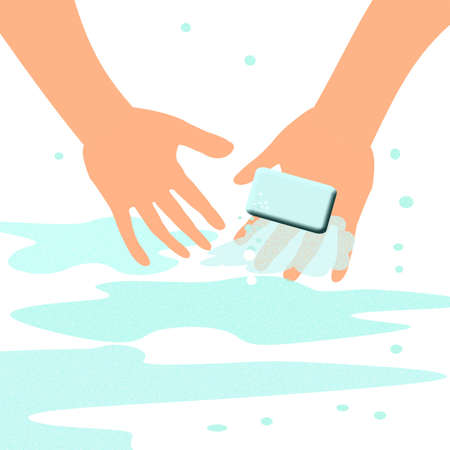 disinfect: hand at work washing up with a bar of soap Stock Photo