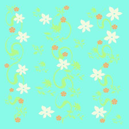 青い背景のギフトバッグに散在して白い花