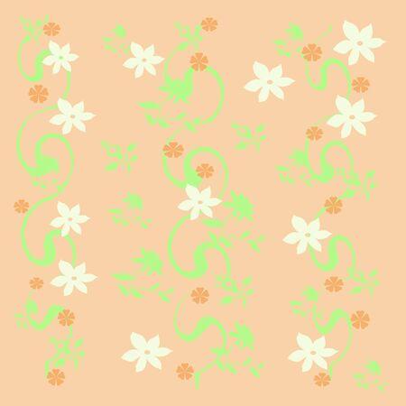 ギフトバッグのピンクの背景に白い花 写真素材