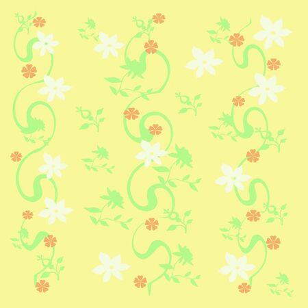 黄色の背景のギフトバッグに散在して白い花