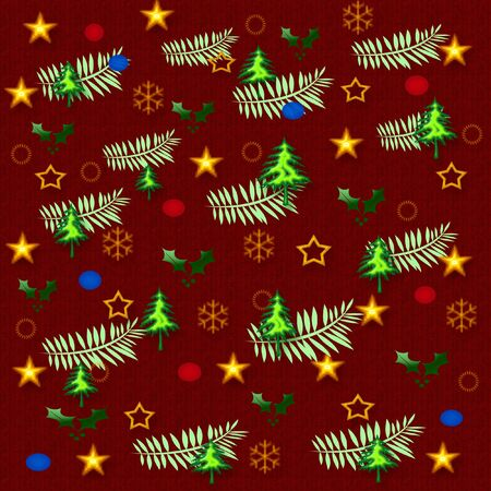 クリスマスのギフト袋オブジェクトと色の盛り合わせ 写真素材