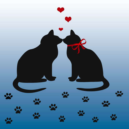 cats in love illustration on gradient background Reklamní fotografie - 2196383