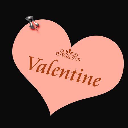 pink valentine heart thumbtacked to wall illustration