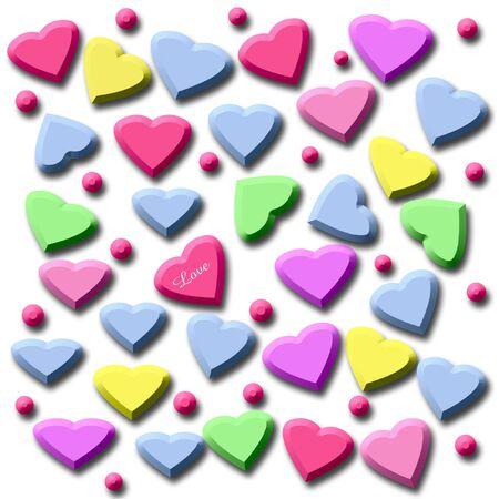 単色の背景上のカラフルなバレンタインのお菓子の心