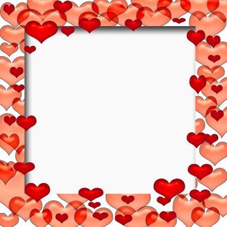 valentine colorful  hearts frame with cutout center Stock Photo