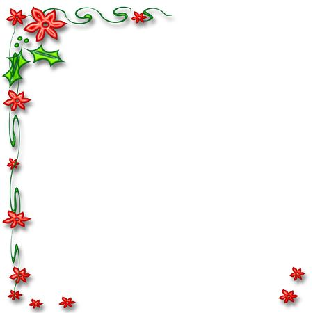 red flowers holly and poinsettia frame on white  background