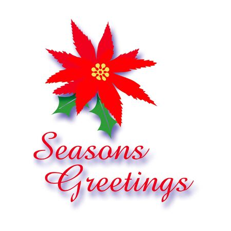 seasons greetings sign red poinsettia and holly