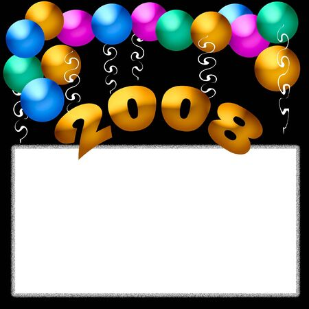 new year party poster blank center with balloon accents