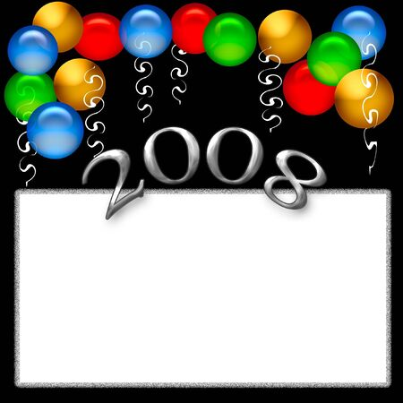 blank center: new year party poster blank center with balloon accents