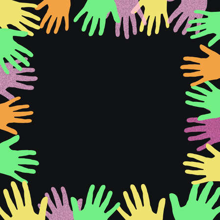 blank center: colorful hands frame around a blank center